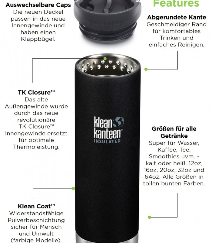 Klean Kanteen TKWide insulated 12 oz (355 ml) with Coffee Cap