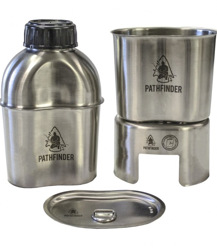 Pathfinder Stainless Steel Canteen Cooking Set mit Molle-bag